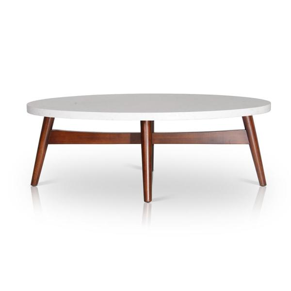 Steve Silver Company Serena 48 In White Large Oval Stone Coffee Table Se300c The Home Depot