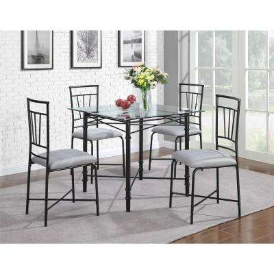 Delphine 5 Piece Black Dining Set With Glass Table Top