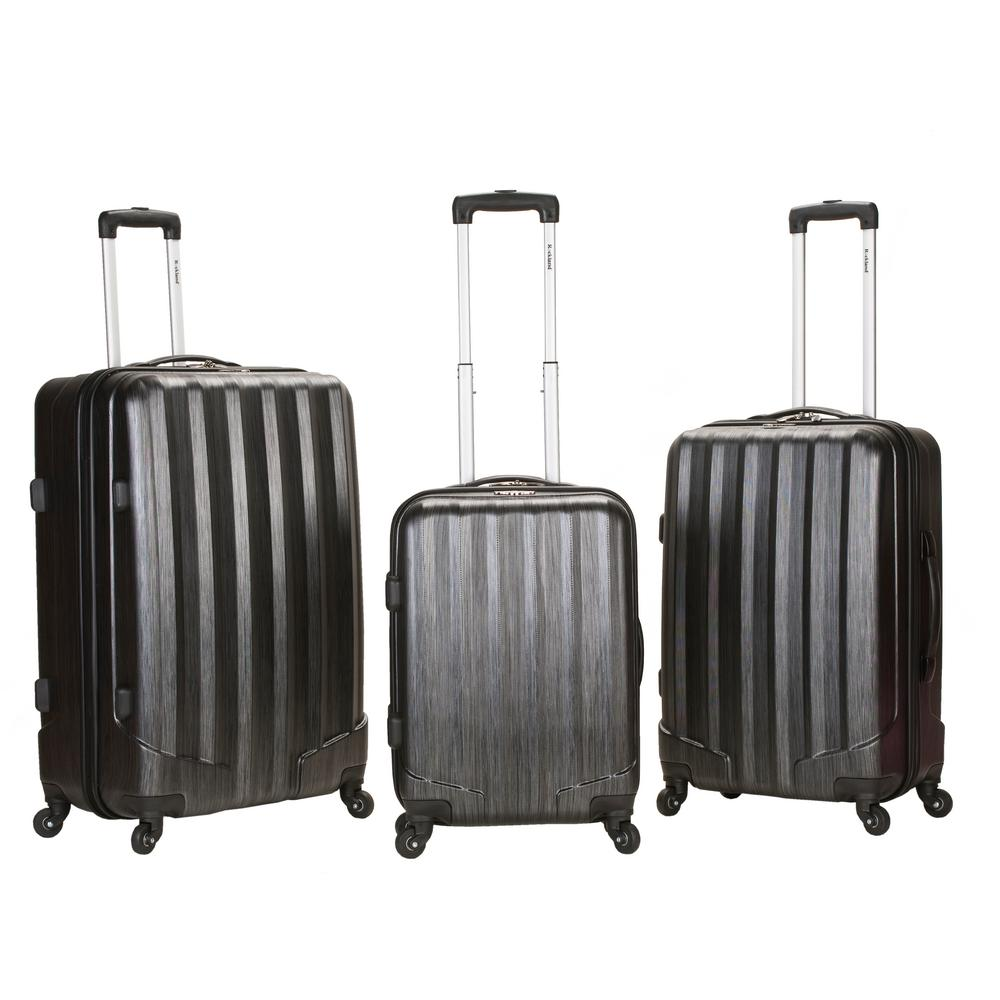 Rockland Metallic 3-Piece Hardside Spinner Luggage Set, Carbon