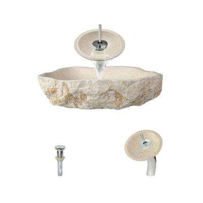 Stone Vessel Sink in Galaga Beige Marble with Waterfall Faucet and Pop-Up Drain in Chrome