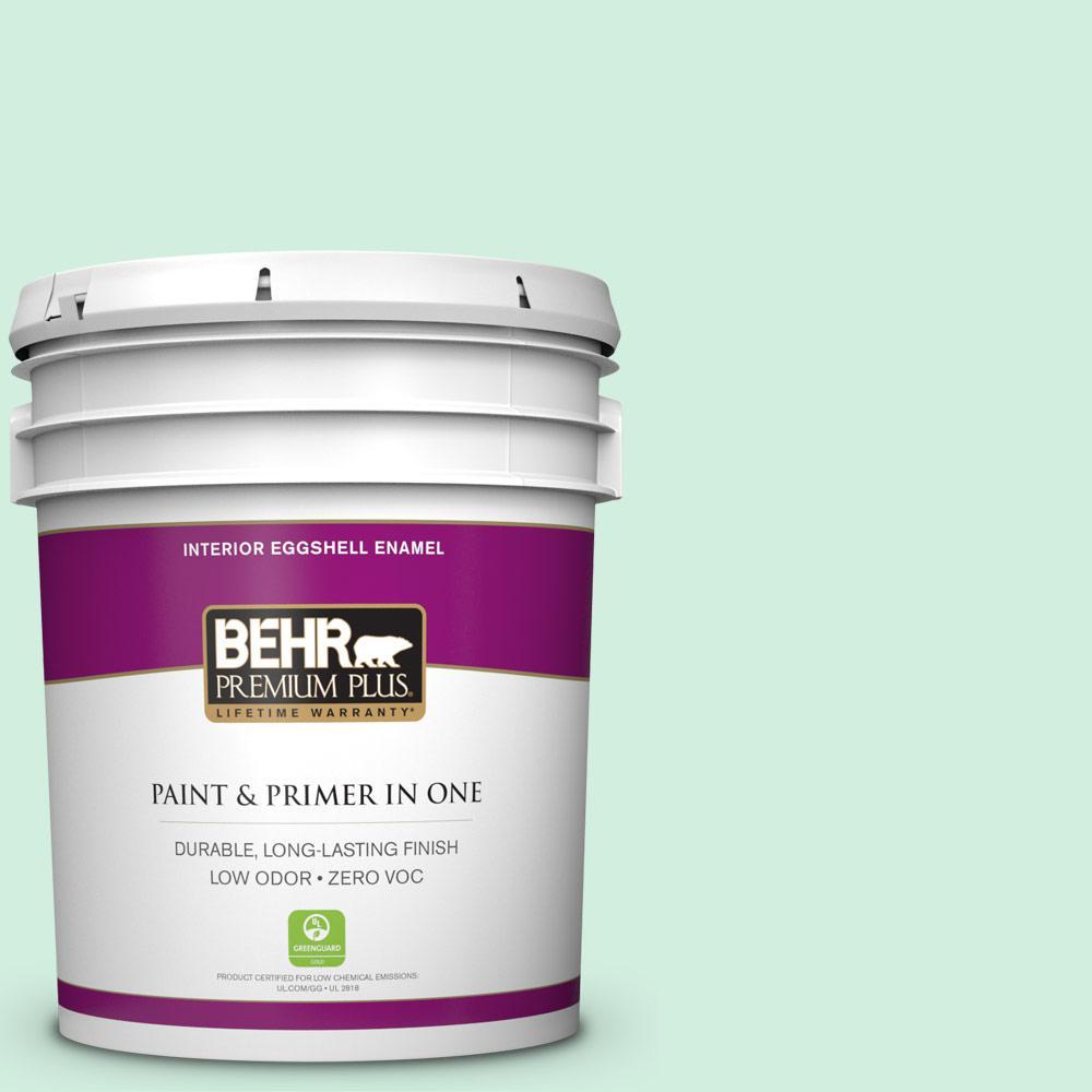 BEHR Premium Plus 5-gal. #480C-2 Pastel Jade Zero VOC Eggshell Enamel Interior Paint