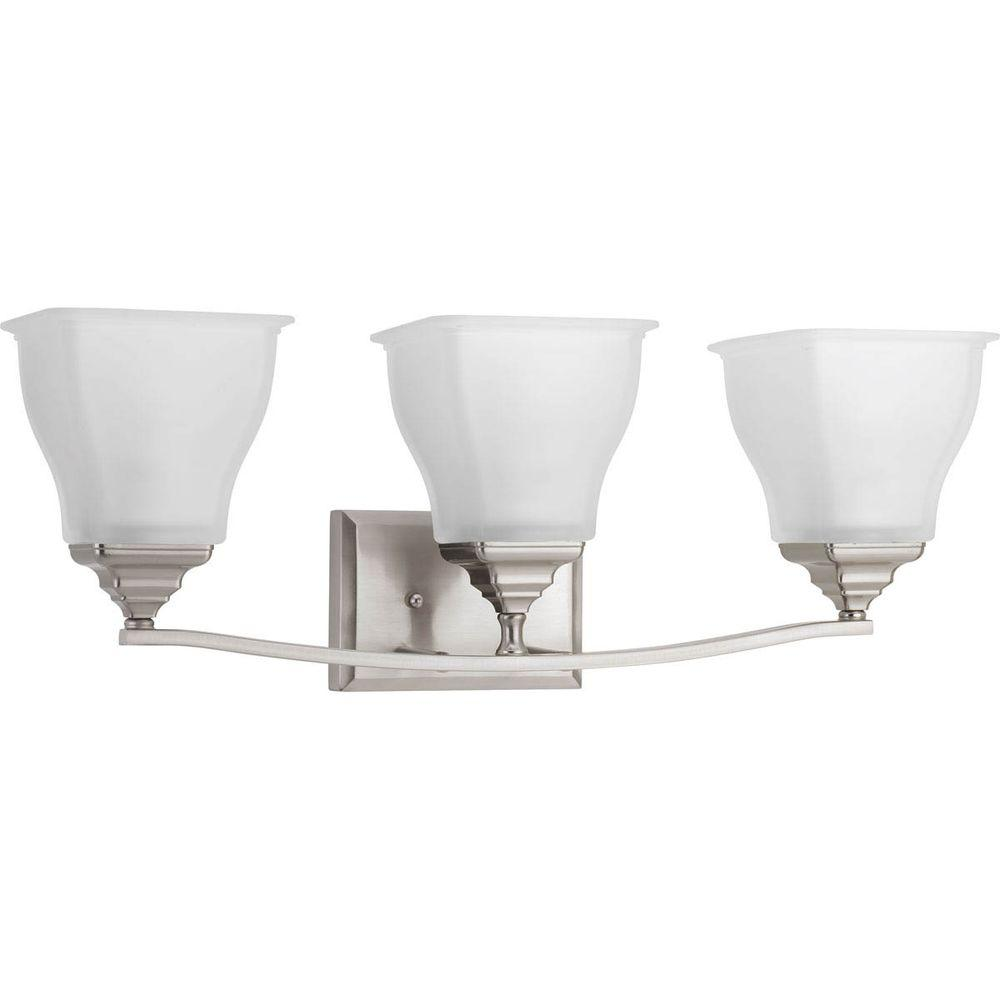 Callison Collection 3-Light Brushed Nickel Vanity Light with Square Etched Glass