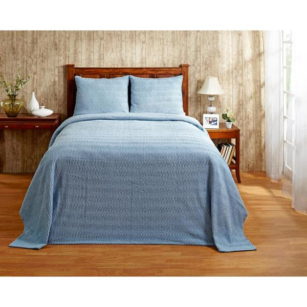 Natick Collection in Wavy Channel Stripes Design Blue Full/Double 100% Cotton Tufted Chenille Bedspread