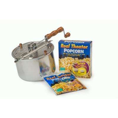 Whirley-Pop 6-Piece Aluminum Silver Stovetop Popcorn Popper with 5 Real Theater All-Inclusive Popping Kits