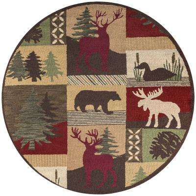 Country Multicolor 8 ft. Round Area Rug