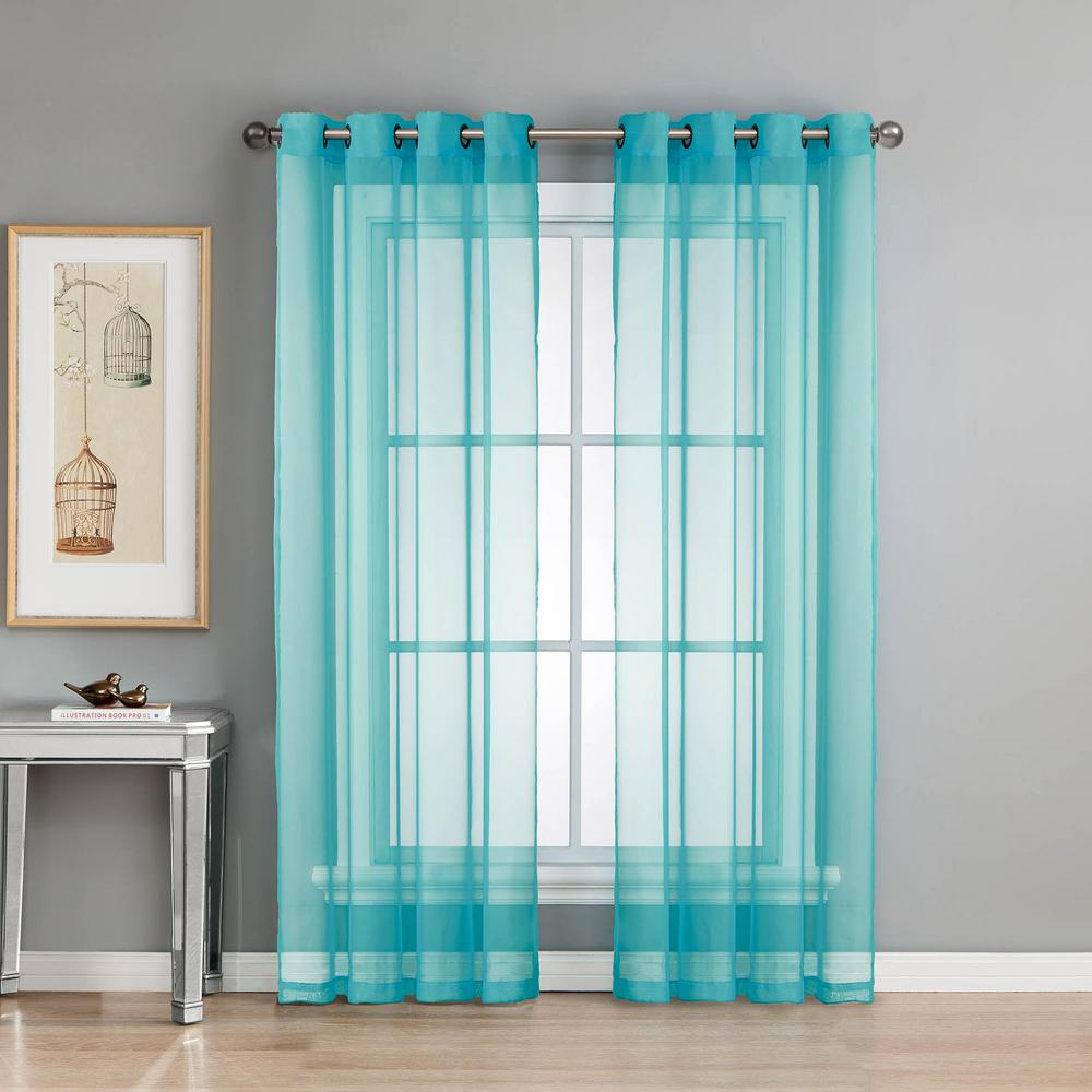 window elements sheer diamond sheer voile turquoise grommet extra wide curtain panel 56 in w x. Black Bedroom Furniture Sets. Home Design Ideas