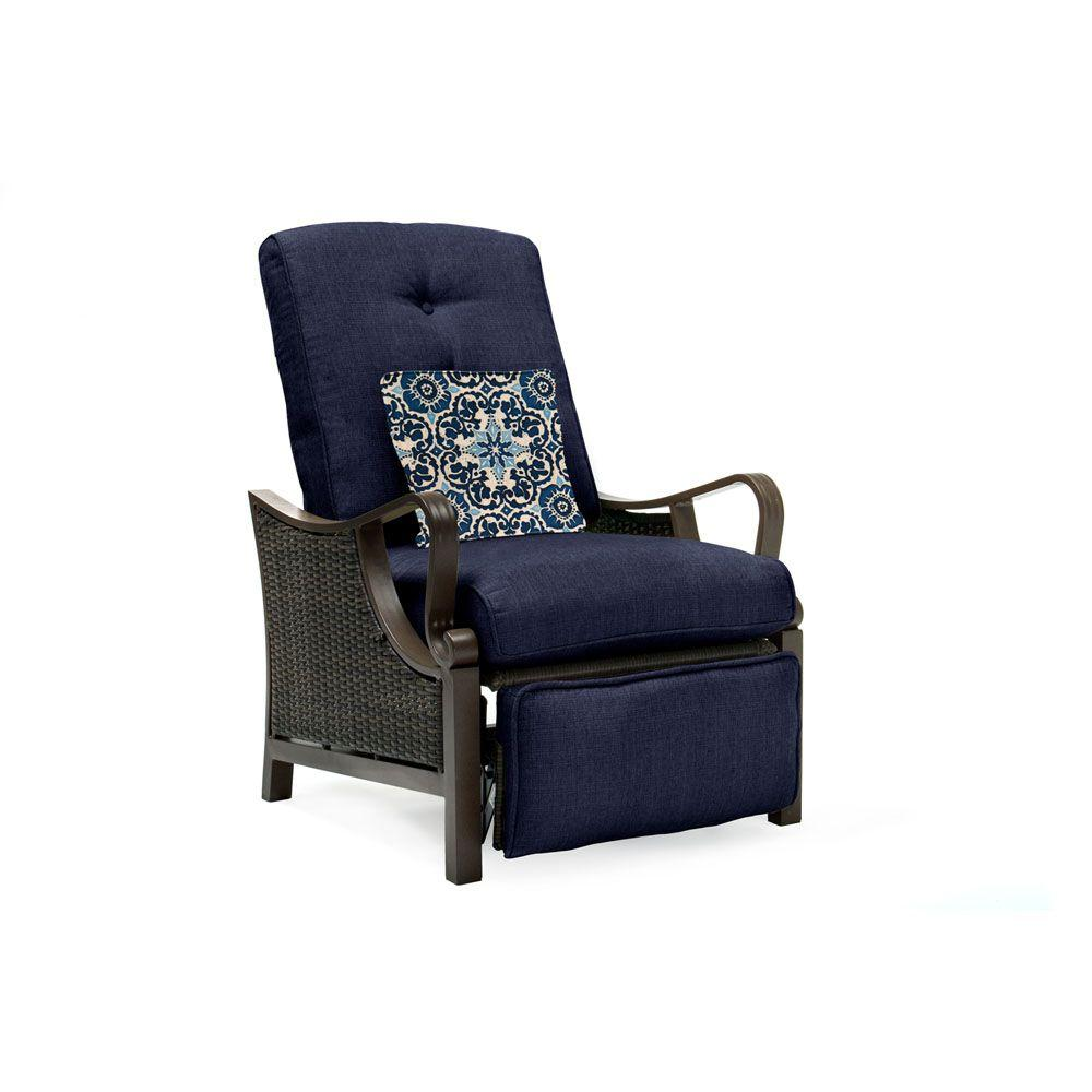 Hanover Ventura All Weather Wicker Reclining Patio Lounge Chair With Navy  Blue Cushion