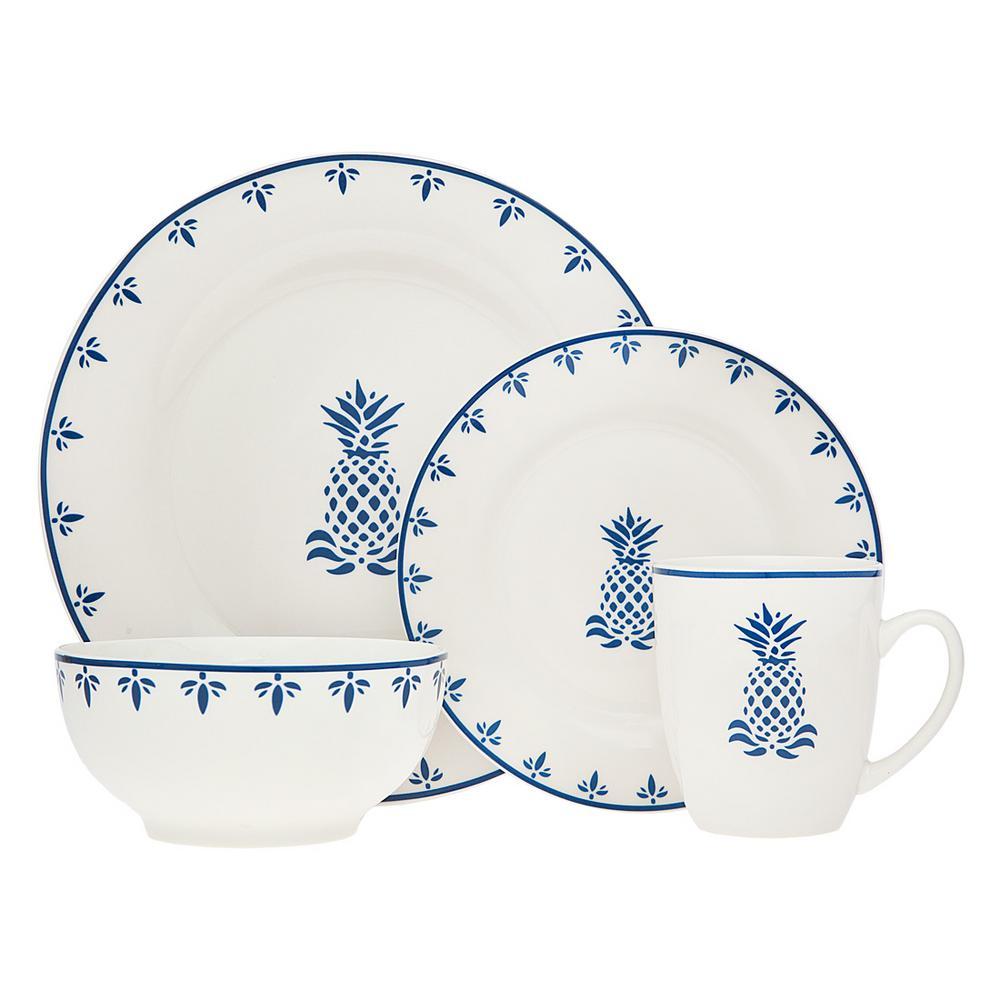 16-Piece Blue Pineapple Dinnerware Set