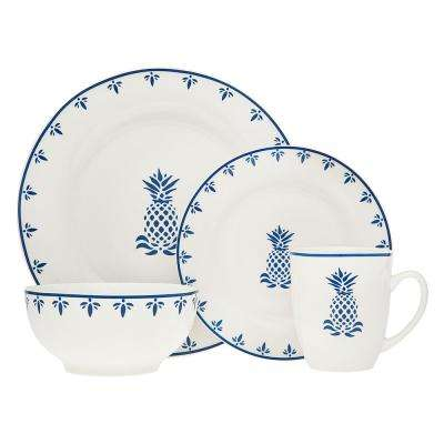 16-Piece Blue Pineapple Dinnerware Set