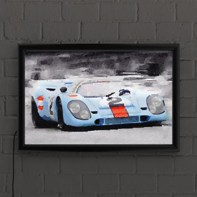 """""""Porsche 917 Gulf Watercolor"""" by NAXART Framed with LED Light Sports Wall Art 16 in. x 24 in."""