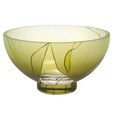 Evergreen 7 in. Green European Mouth Blown and Hand Decorated Glass Serving Bowl