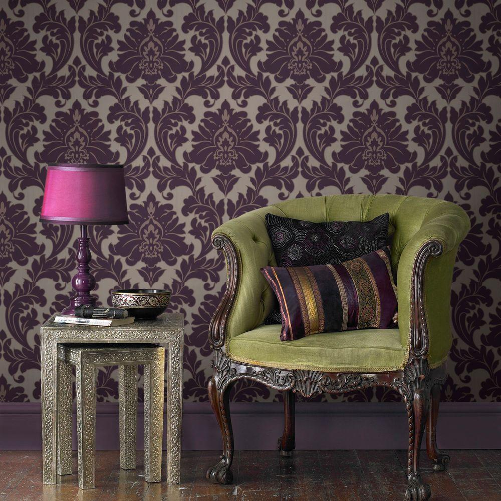 Graham & Brown Majestic Purple Wallpaper