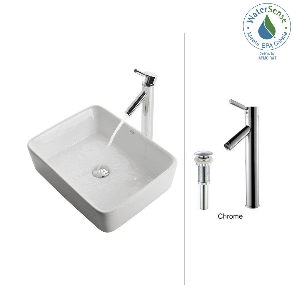 Rectangular Ceramic Vessel Sink in White with Sheven Faucet in Chrome