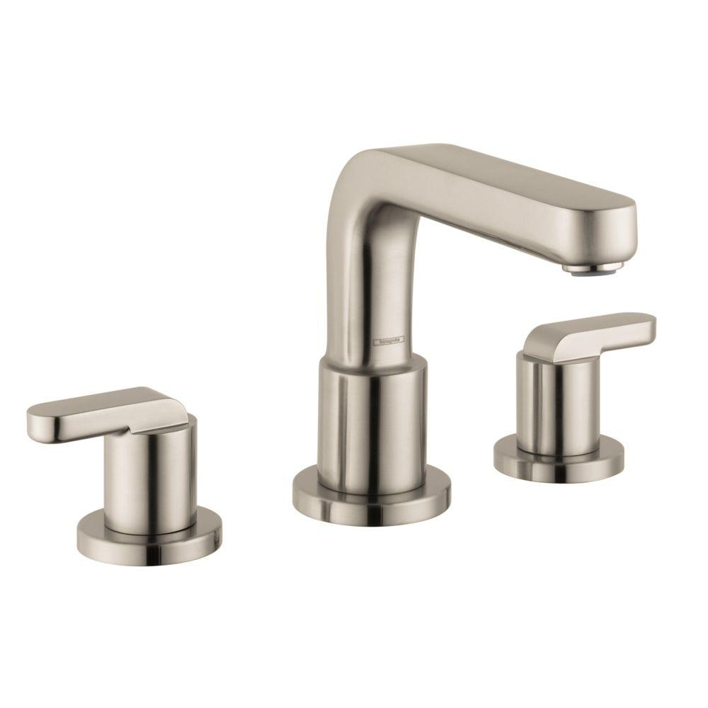 hansgrohe metris s lever 2 handle deck mount roman tub faucet in brushed nickel 31438821 the. Black Bedroom Furniture Sets. Home Design Ideas
