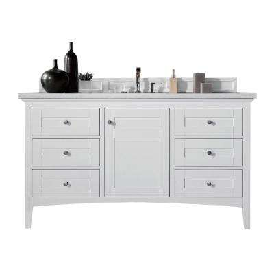 Palisades 60 in. W Single Vanity in Bright White with Soild Surface Vanity Top in Arctic Fall with White Basin