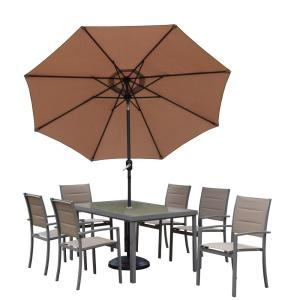 9-Piece Padded Sling Aluminum Outdoor Dining Set with Tempered Glass Table 6 Chairs Metal Umbrella and Stand by
