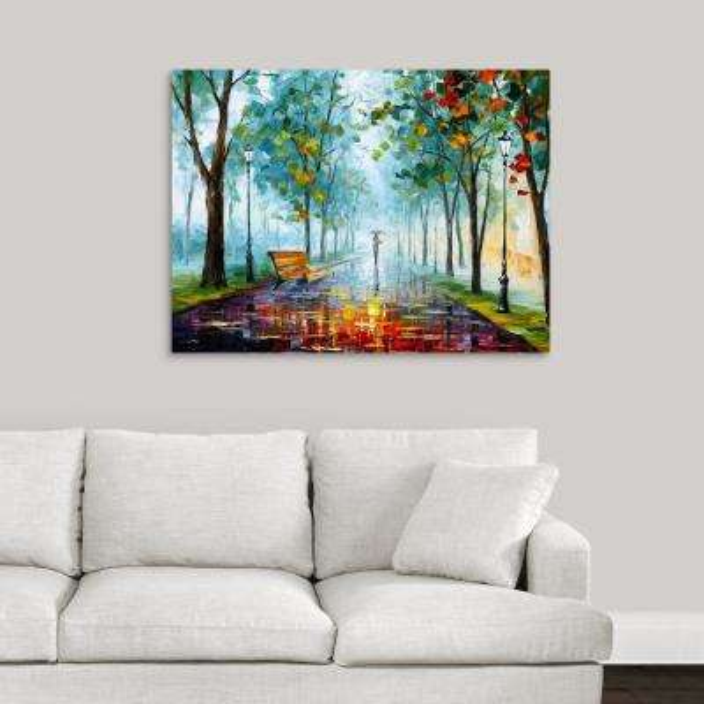"""40 in. x 30 in. """"Long Fog"""" by  Leonid Afremov Canvas Wall Art"""