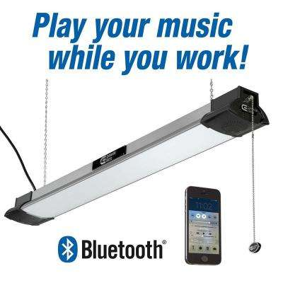 "50 Watt, 3500 Lumens, 4000K Bright White, 40"" White Integrated LED Shoplight with Bluetooth Speakers"