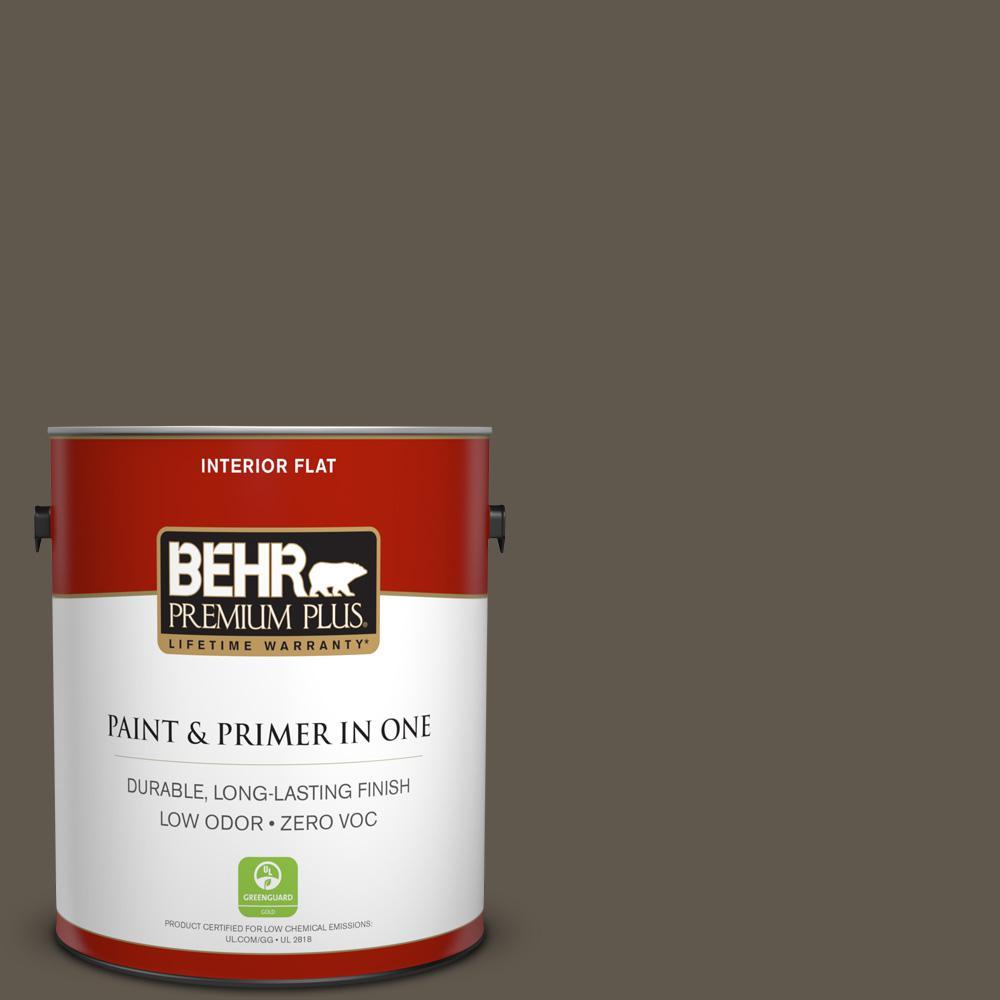 BEHR Premium Plus 1-gal. #720D-7 Winter Oak Zero VOC Flat Interior Paint