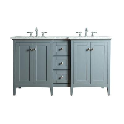 Tower 60 in. W x 23.5 in. D Bath Vanity in Gray with Marble Vanity Top in Carrara White with White Basin