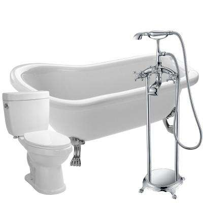 Pegasus 5 ft. Acrylic Clawfoot Non-Whirlpool Bathtub in White with Tugela Faucet and Talos 1.6 GPF Toilet