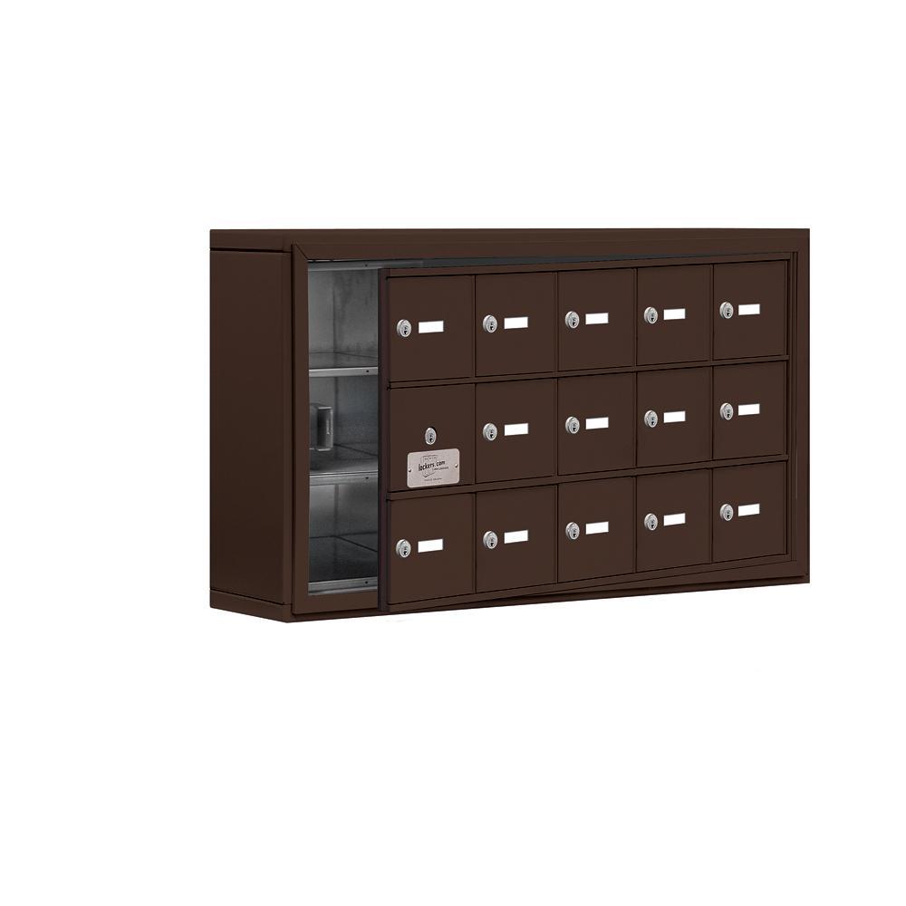 19100 Series 37 in. W x 20 in. H x 6.25 in. D 14 Doors Cell Phone Locker S-Mount Keyed Locks in Bronze