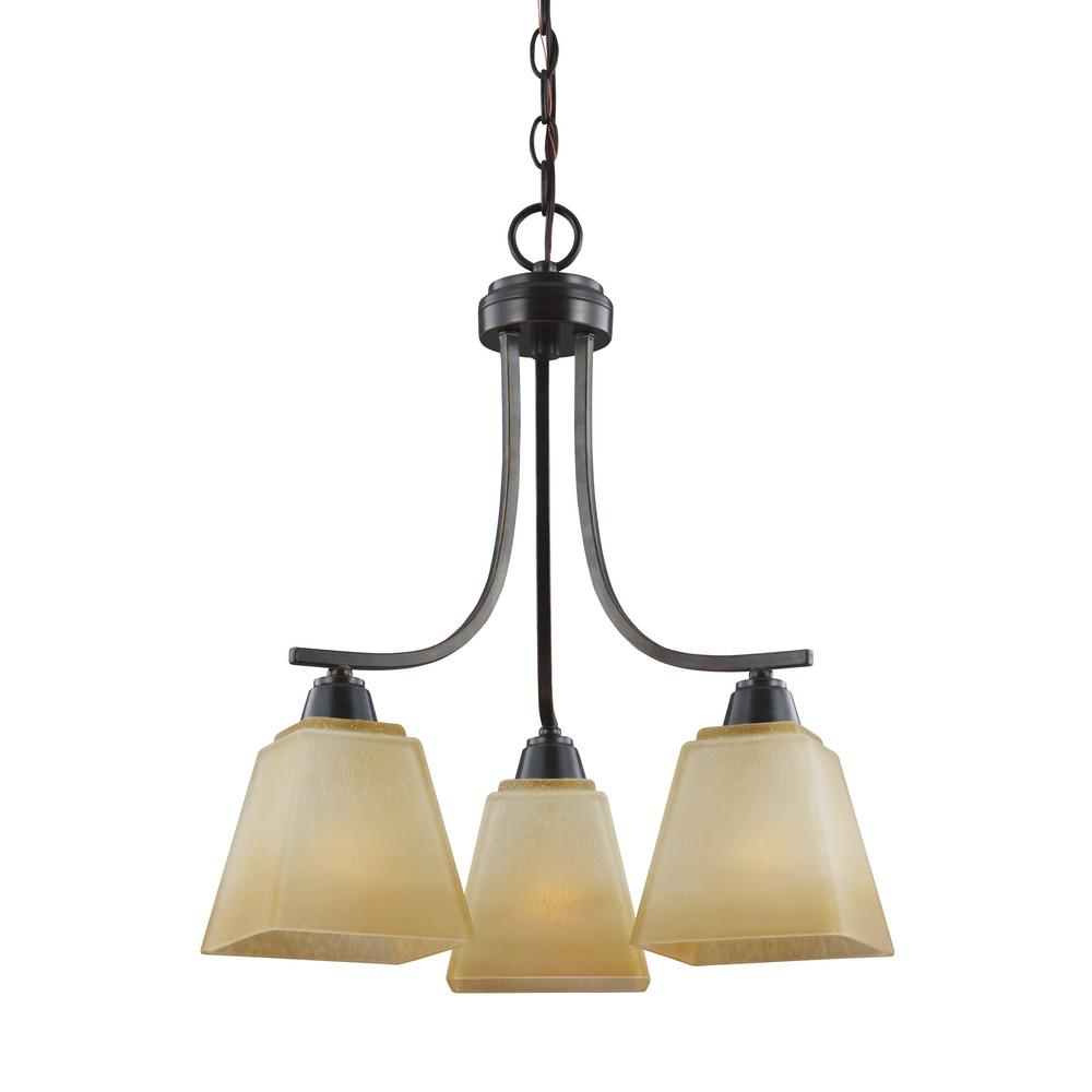 Parkfield 3-Light Flemish Bronze Chandelier with LED Bulbs