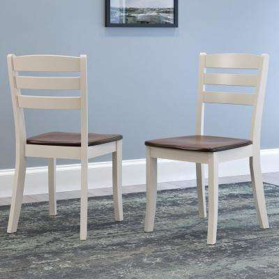 Dillon Dark Brown and Cream Solid Wood Horizontal Salt Backrest Dining Chairs (Set of 2)