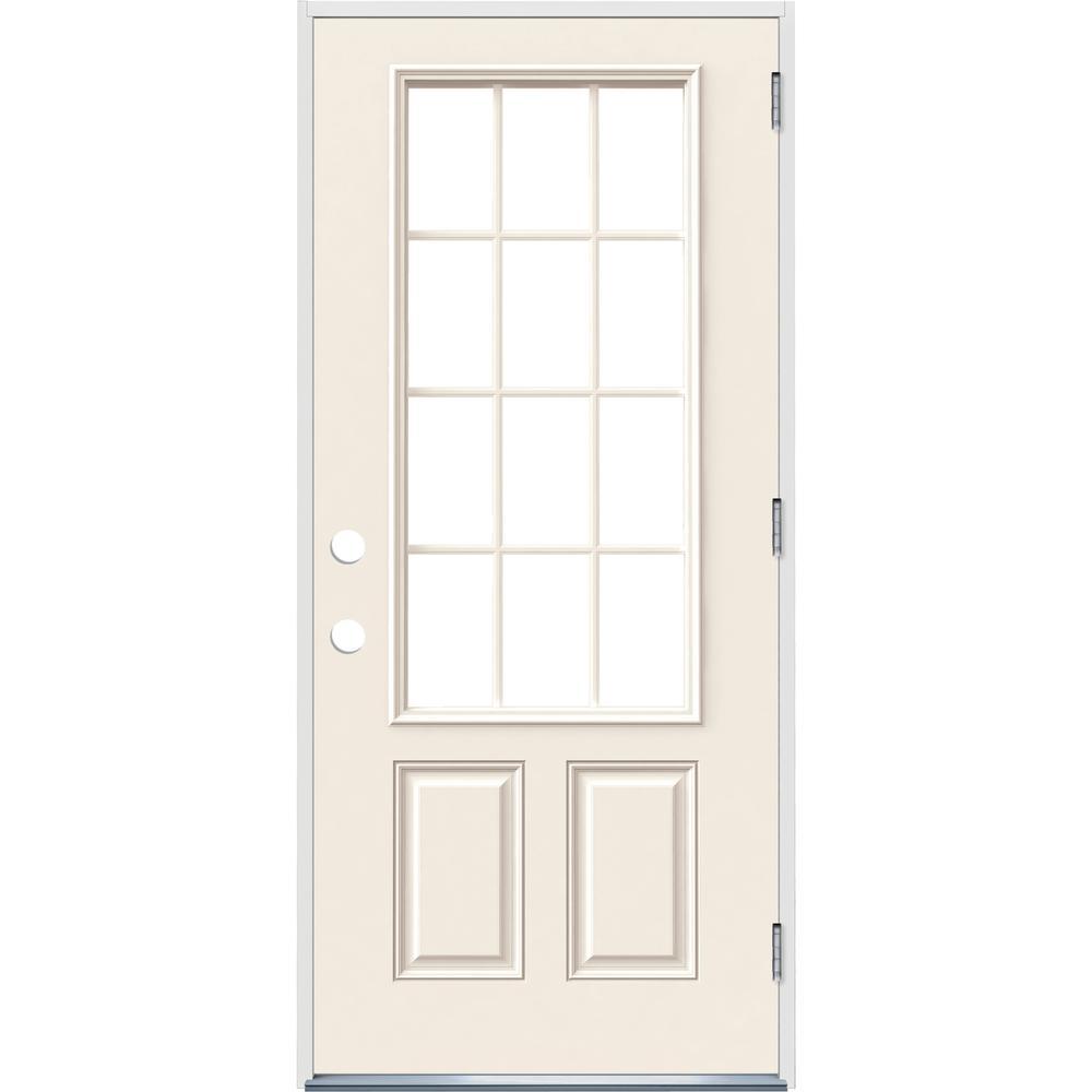 36 in. x 80 in. 12 Lite Primed Steel Prehung Left-Hand Outswing Front Door