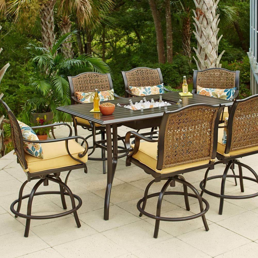 Hampton bay vichy springs 7 piece patio high dining set Small backyard patio furniture