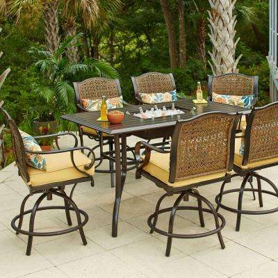 Vichy Springs 7-Piece Patio High Dining Set - Dark Brown - Metal Patio Furniture - Bar Height Dining Sets