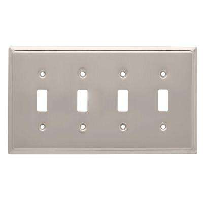 Country Fair Decorative Quadruple Switch Plate, Satin Nickel