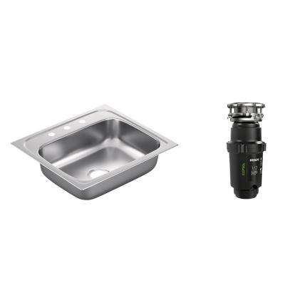 2200 Series Drop-in Stainless Steel 25 in. 3-Hole Single Basin Kitchen Sink with GX Pro Series HP Garbage Disposal