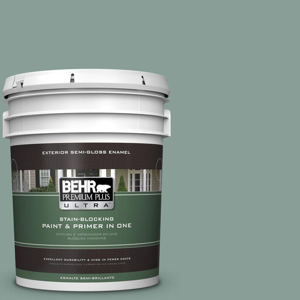 BEHR Premium Plus Ultra 5-gal. #480F-4 Mermaid Net Semi-Gloss Enamel Exterior Paint