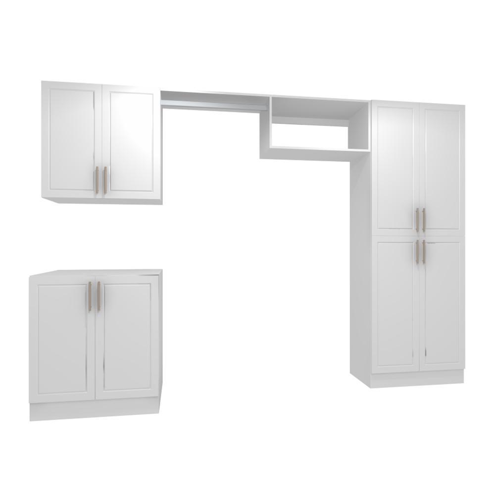 Madison 120 in. W White Hanging Rod Laundry Cabinet Kit