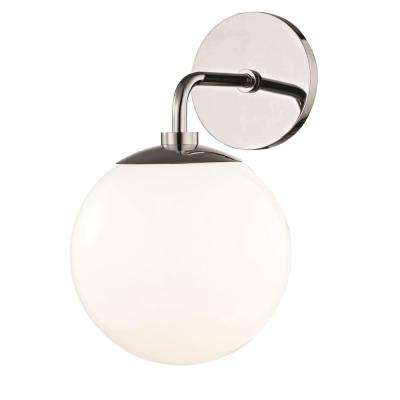 Stella 1-Light Polished Nickel Wall Sconce with Opal Glossy Glass