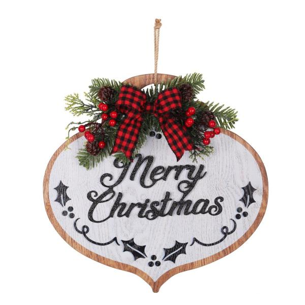 Haute Decor 14 In Merry Christmas Wood Ornament Wall Hanging With Buffalo Check Ribbon Dcwd0005 The Home Depot