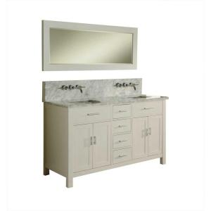 Direct vanity sink Hutton Spa Premium 63 inch Double Vanity in Pearl White with Marble Vanity Top in Carrara White and... by Direct vanity sink