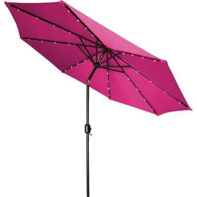 9 ft. Deluxe Solar Powered LED Lighted Patio Umbrella in Pink