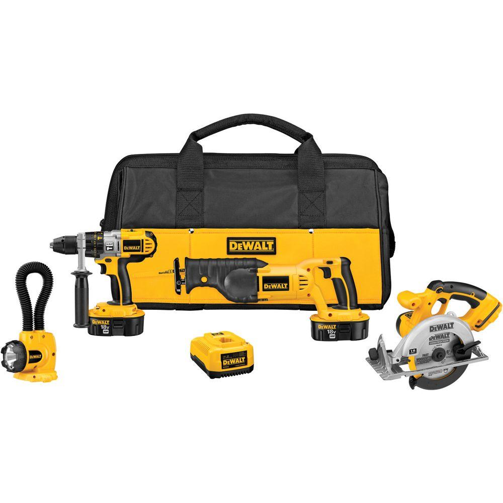 DeWALT 18-Volt XRP NiCd Cordless Combo Kit (4-Tool) with ...