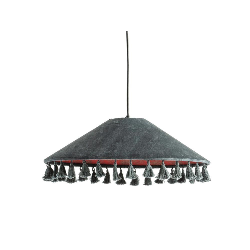 1-Light Charcoal Grey Pendant Light with Velvet Shade