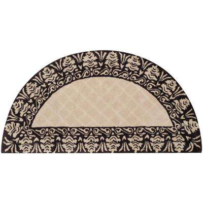 Total Performance Ivory/Chocolate 2 ft. x 4 ft. Half-Moon Area Rug