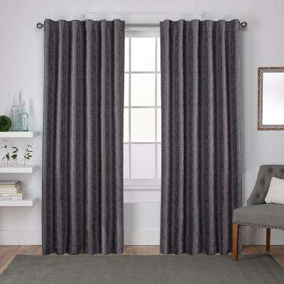 Zeus 52 in. W x 96 in. L Woven Blackout Hidden Tab Top Curtain Panel in Black Pearl (2 Panels)