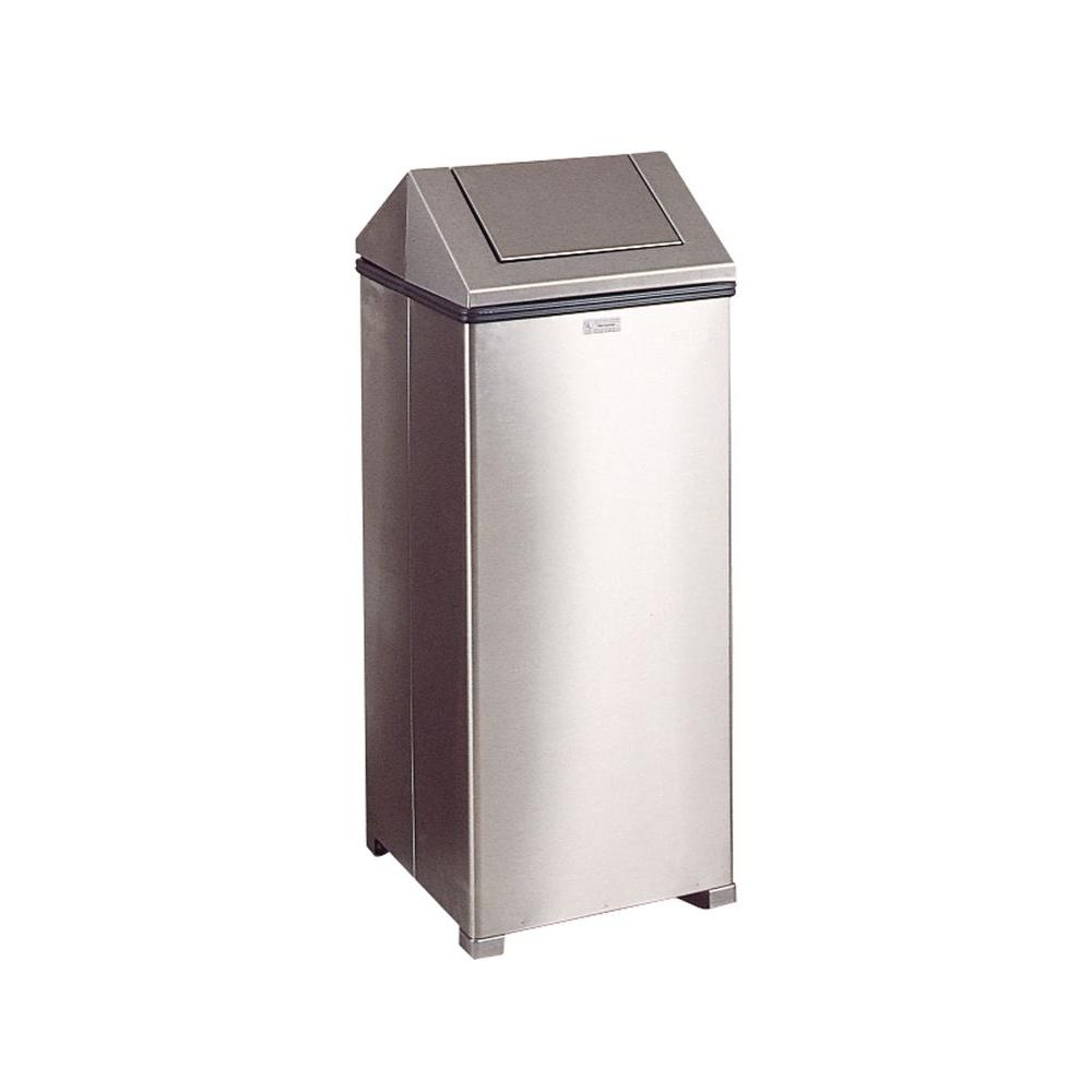 Rubbermaid Commercial Products 24 Gal Stainless Steel Hinged Top Trash Can