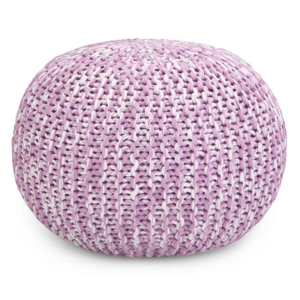 Ashlynn Contemporary Lilac Cotton Round Hand Knit Pouf