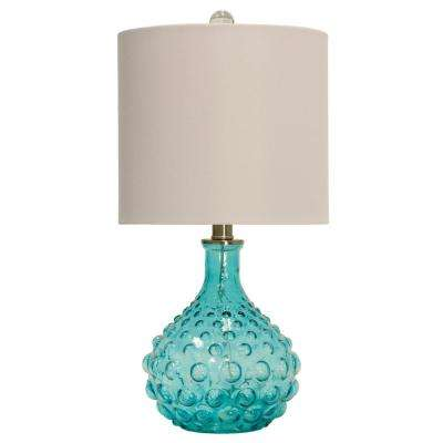 20 in. Blue Table Lamp with Off-White Hardback Fabric Shade