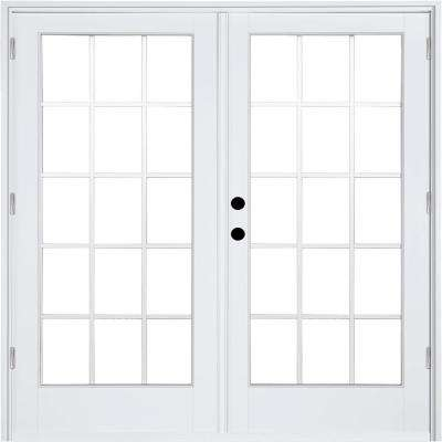 72 in. x 80 in. Fiberglass Smooth White Right-Hand Outswing Hinged Patio Door with 15-Lite GBG