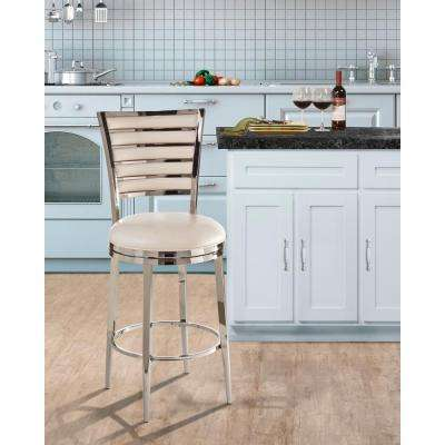 Rouen 26 in. Shiny Nickel Swivel Cushioned Bar Stool