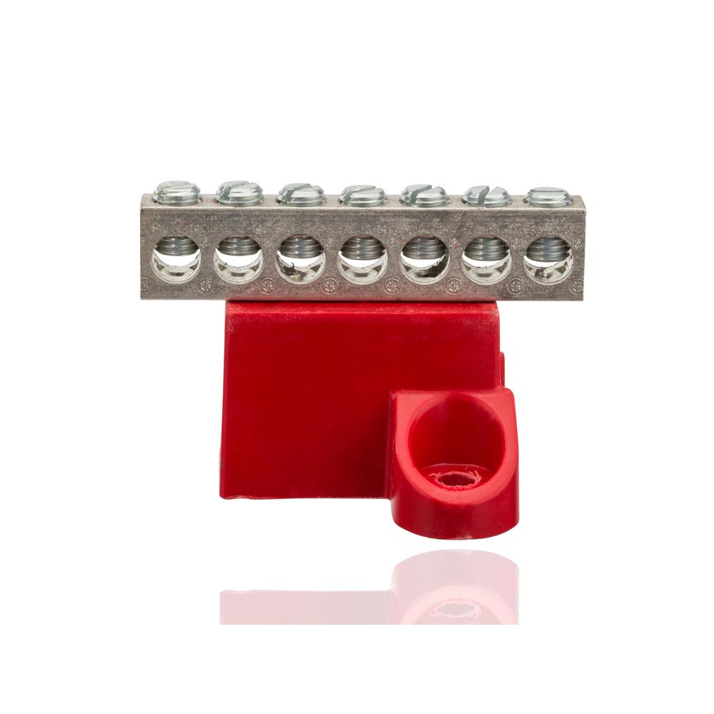 nsi industries 2-14 awg, 7 circuit aluminum isolated ground bar- 1 count