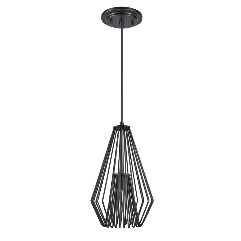 aspen creative corporation 1-light black mini pendant with metal wire shade-61080-1